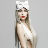 Sexy blonde in cat mask Stock Images