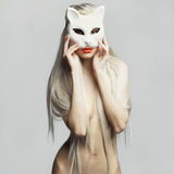 Sexy blonde in cat mask Royalty Free Stock Photography
