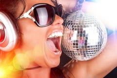 Sexy DJ and sphere Stock Photos