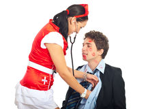 Sexy nurse examine lover patient Royalty Free Stock Photos