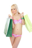Sexy woman in lingerie with shopping bags Royalty Free Stock Photo