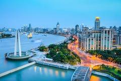 Shanghai bund in nightfall Stock Photography
