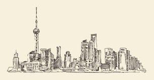 Shanghai, China, city architecture, vintage illustration, engraved retro style, hand drawn, sketch,  Stock Image