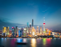 Shanghai financial district skyline in nightfall Royalty Free Stock Photos