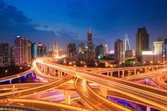 Shanghai highway traffic in nightfall Royalty Free Stock Photos