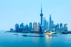 Shanghai pudong in nightfall Royalty Free Stock Images