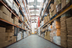 Shelves with boxes in warehouse Royalty Free Stock Photography