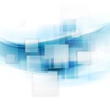 Shiny blue tech background with squares and waves Royalty Free Stock Photography