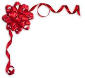 Shiny red satin ribbon and bow on white background Stock Photo