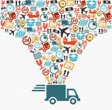 Shipping icons set Fast delivery truck concept ill Stock Image