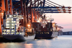Ships in harbor Stock Photography