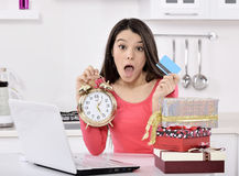 Shocked young woman with gift boxes Royalty Free Stock Images