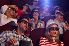 Shocking 3D movie in cinema Stock Photography