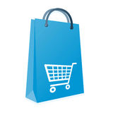 Shopping bag and trolly Stock Images