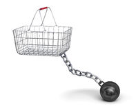 Shopping basket and steel ball on a chain Royalty Free Stock Photo