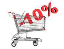 Shopping cart with 10 percent discount isolated on white Stock Image
