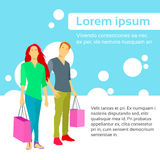 Shopping Couple Bag Colorful Design Flat Vector Royalty Free Stock Photo