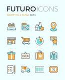 Shopping and retail futuro line icons Stock Image