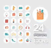 Shopping and retail icons on grey Stock Photography