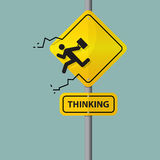 Sign of businessman icon who thinking out of the box. Pictogram on road sign. Stock Photo
