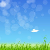Sign with paper plane and heart  Stock Image