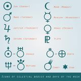 Signs of celestial bodies and days of week in mode Royalty Free Stock Image