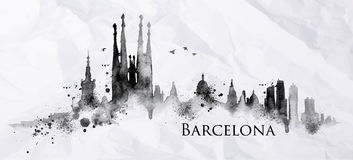 Silhouette ink Barcelona Royalty Free Stock Image