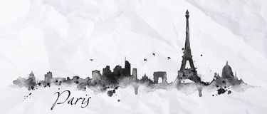Silhouette ink Paris Royalty Free Stock Image