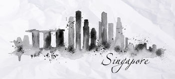 Silhouette ink Singapore Royalty Free Stock Photography
