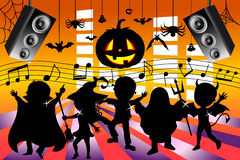 Silhouette Kids Dancing Halloween Party Stock Image