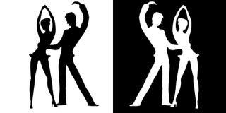 Silhouetten van dansers op wit en op een zwarte achtergrond Stock Fotografie