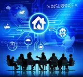 Silhouettes of Business People and Insurance Concepts Royalty Free Stock Photos