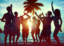 Silhouettes of Diverse Multiethnic People Partying Stock Image