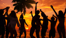 Silhouettes of Diverse Multiethnic People Partying Royalty Free Stock Photo