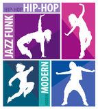 Silhouettes of girls dancing modern dance styles Stock Photography