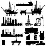 Silhouettes of Oil Industry Stock Photography
