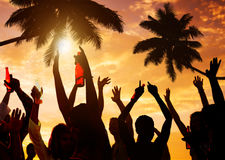 Silhouettes of People Partying on the Beach Royalty Free Stock Photo