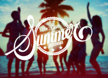 Silhouettes of People Partying : Vacation Summer Paradise Royalty Free Stock Photo
