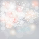 Silver Lights & Stars On Neutral Grey Christmas Holiday Background Royalty Free Stock Images