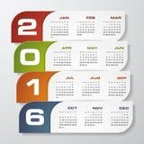 Simple design calendar 2016 year vector design template. Royalty Free Stock Photo