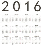 Simple european square calendar 2016 Royalty Free Stock Images
