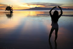 Siquijor island sunset silhouette philippines Royalty Free Stock Photography