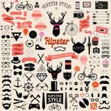 Sistema de iconos diseñados vintage del inconformista del diseño Muestras del vector y plantillas de los símbolos Foto de archivo
