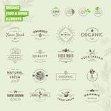 Sistema de insignias y de elementos de las etiquetas para el alimento biológico y la bebida Fotos de archivo