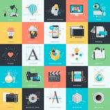 Sistema de los iconos planos del estilo del diseño para el gráfico y el diseño web Imagenes de archivo