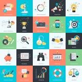 Sistema de los iconos planos del estilo del diseño para el negocio y el márketing Fotos de archivo libres de regalías