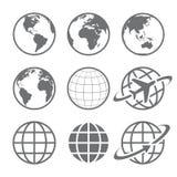 Sistema del icono del globo de la tierra Imagenes de archivo