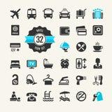 Sistema del icono del web del hotel Imagenes de archivo