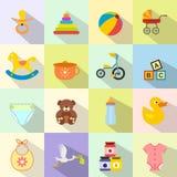 Sistema plano del icono del bebé Foto de archivo libre de regalías