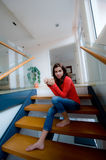Sitting On Stairs Royalty Free Stock Photography